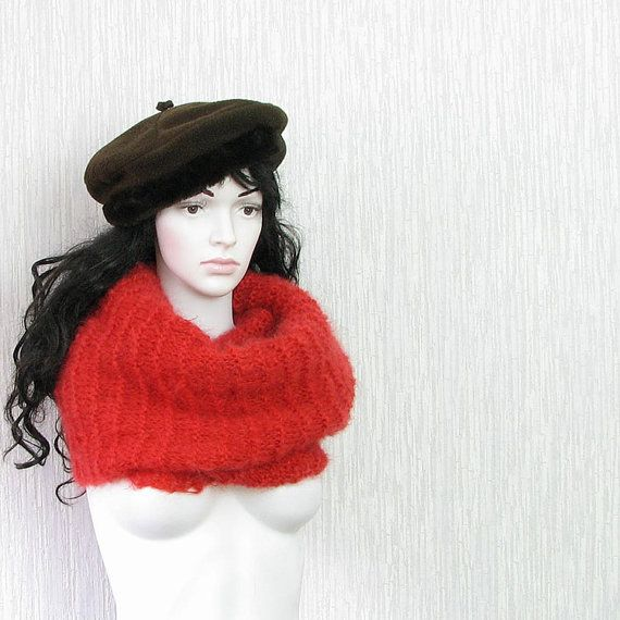 chunky knit scarf  winter scarf  red scarf  warm by DamovFashion