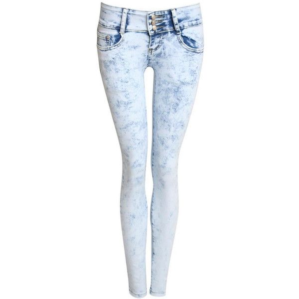 Pilot Nina 3 Button Acid Wash Skinny Jeans ($29) ❤ liked on Polyvore featuring jeans, pants, denim, skinny leg jeans, zipper jeans, skinny fit denim jeans, 5 pocket jeans and blue jeans