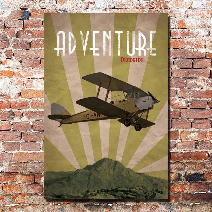 Cuadro Vintage de avión para decoración habitación juvenil e infantil