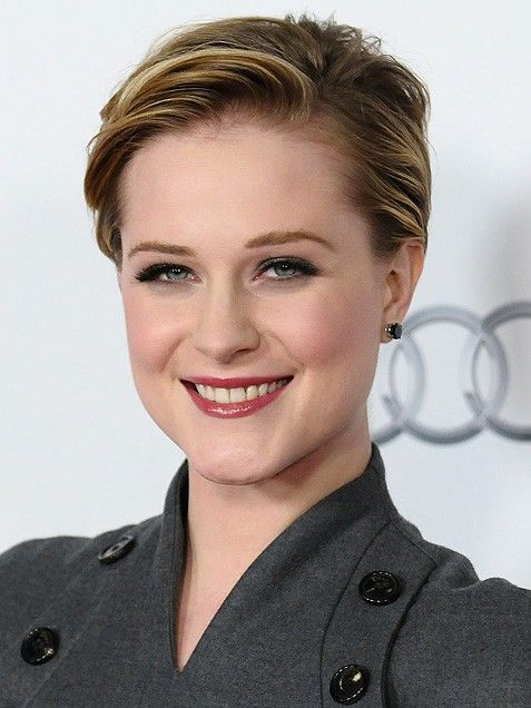 Evan Rachel Wood   ~Tucking her short hair behind her ears, the actress's hairstyle would work equally well at a party or in the boardroom.