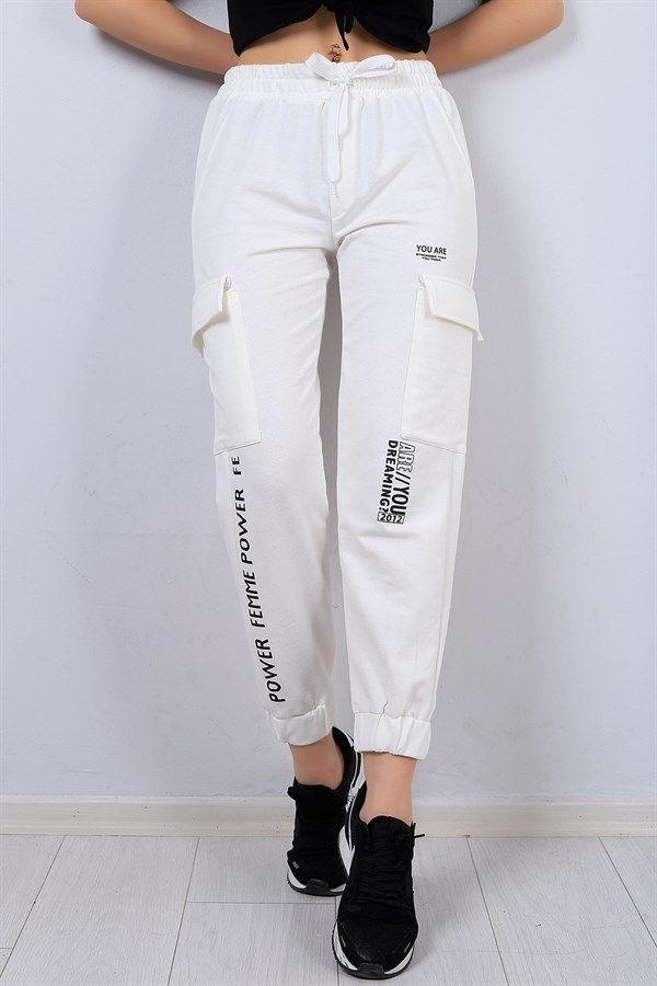 742d92a9c2552 Beyaz Bayan Kargo Eşofman Altı 13053B in 2019   Bayan Pantolon Modelleri  2018   Modamizbir.com   Pantolon