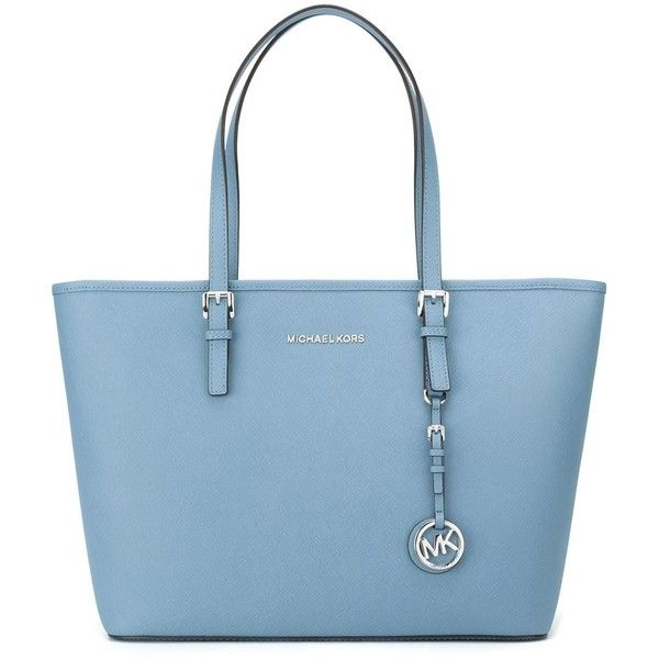 Michael Michael Kors Jet Set Travel Tote (£230) ❤ liked on Polyvore featuring bags, handbags, tote bags, blue, leather tote, travel purse, handbags totes, blue tote bag and leather tote bags