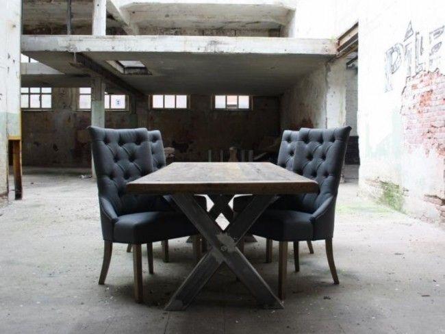 Steigerhouten tafel Bangkok - Industriële meubelen - Woning