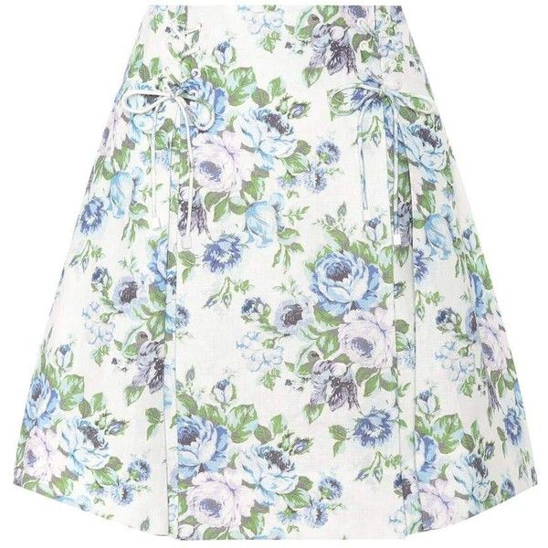 Zimmermann Floral Linen Skirt ($570) ❤ liked on Polyvore featuring skirts, blue, floral printed skirt, zimmermann, blue linen skirt, white knee length skirt and floral skirts