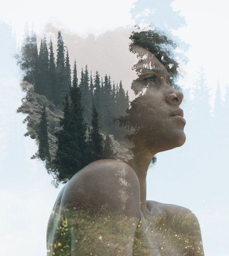 Double exposure portrait of a woman combined with nature