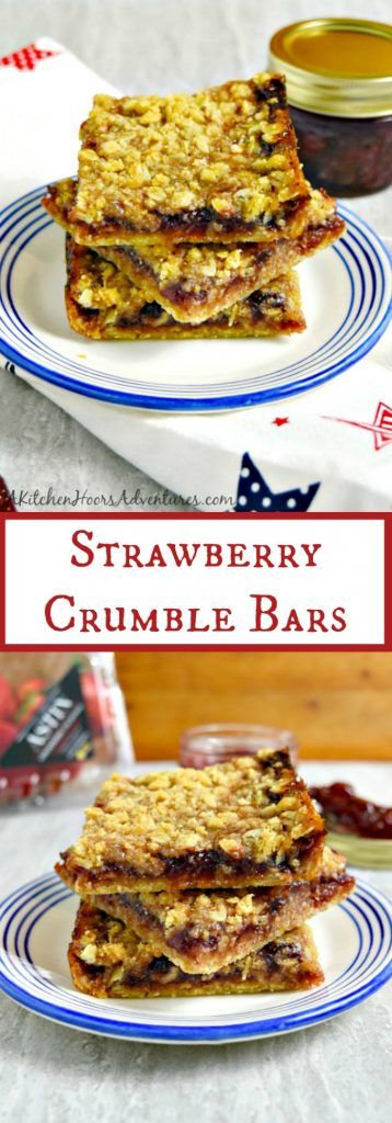 Strawberry preserves made with @Flastrawberries make the perfect filling for these Strawberry Crumble Bars. Strawberry flavor is sandwiched between buttery layers of oatmeal and almond crumble. #FLStrawberry #SundaySupper