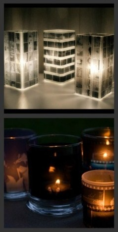 Old film strips used on candles, can also be used on vases lit by LED and topped by flowers