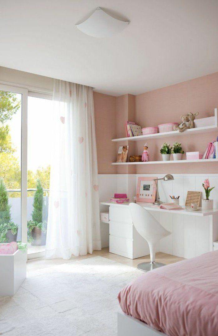 conforama chambre fille en rose pale et blanc, idee deco chambre fille