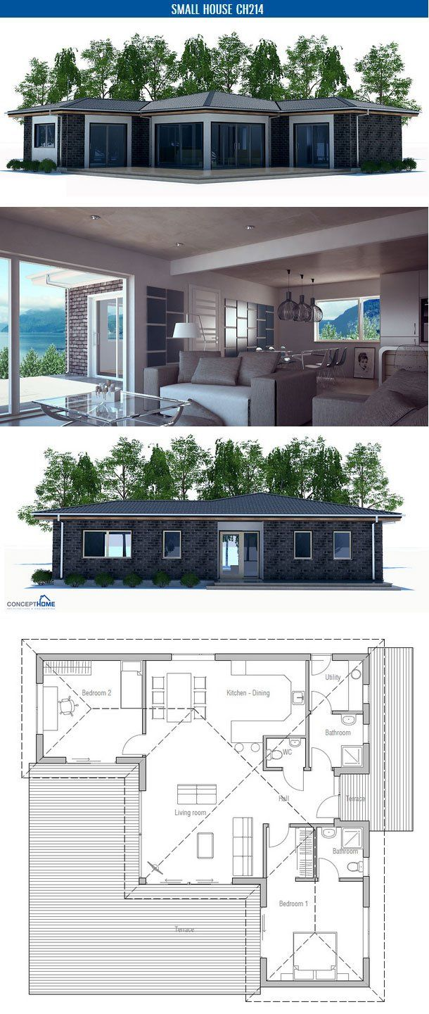 Small house plan with two bedrooms and spacious living room. Affordable building budget. Floor area: 1163 sq ft,  Cost to Build: from $ 100 000. Floor Plan from ConceptHome.com
