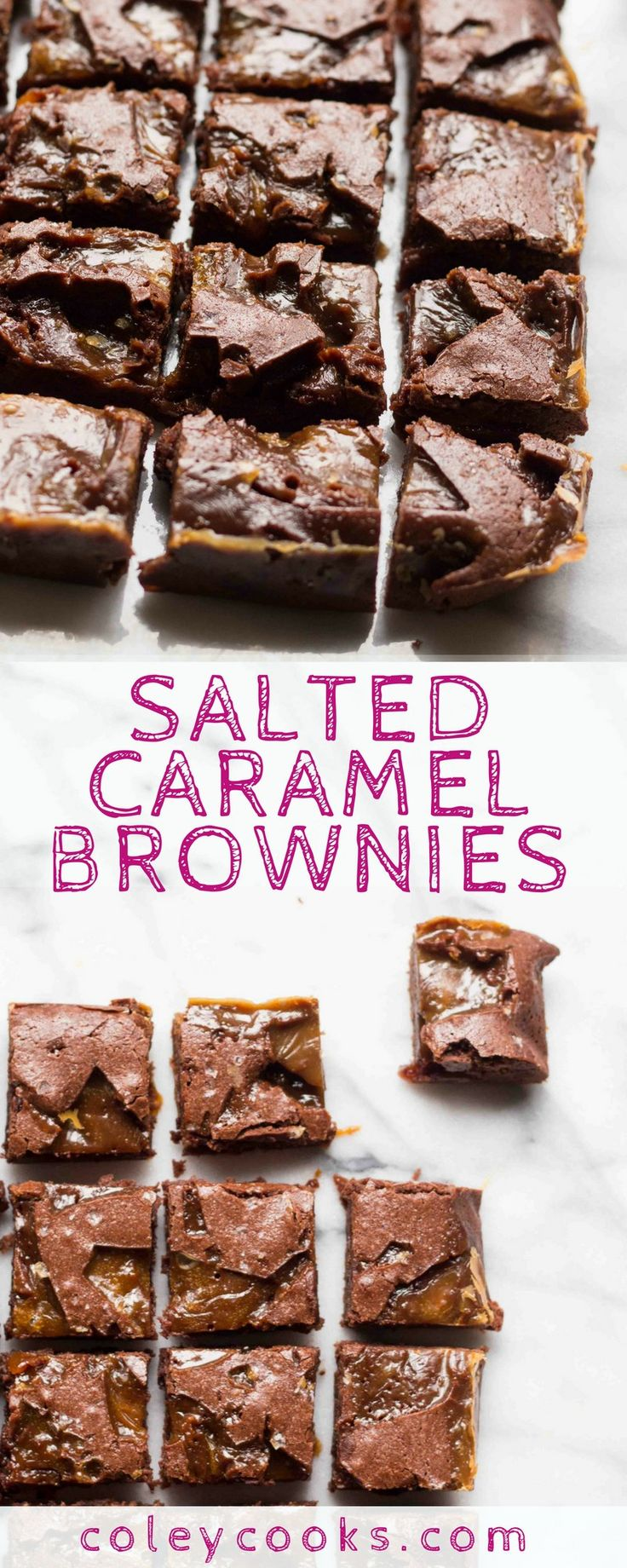 SALTED CARAMEL BROWNIES | This the BEST easy recipe for Salted Caramel Brownies! Super fudgy, chewy, salty, loaded with chocolate - they're like fudge! The best dessert ever. | ColeyCooks.com