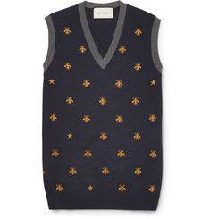 GucciBee-Patterned Wool Sweater Vest