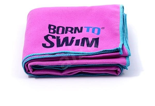 Ručník Born To Swim z mikrovlákna fialový