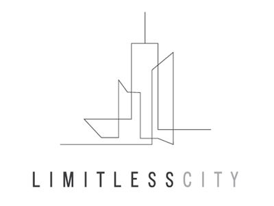 City is evident, the concept of limitless is present too in multiple ways: (1) the lines extend in both directions; (2) it's still a sketch, it could go anywhere | city, logo, branding