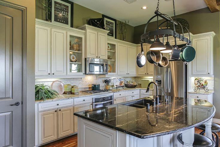 Gehan Homes Kitchen White Cabinets Glass Cabinets Dark