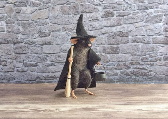 Felted Mouse Black Witch Mouse with Witches by GentlySpokenFriend