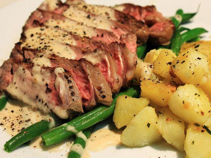 Steak Strips with Peppercorn Sauce