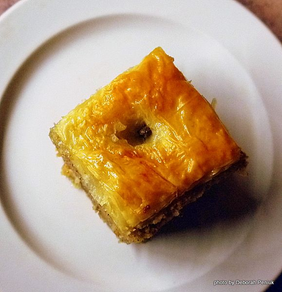 A mysterious Greek dessert called a Copenhagen: Looks like a piece of baklava @ the outside, but a karidopita or walnut cake @ the inside.