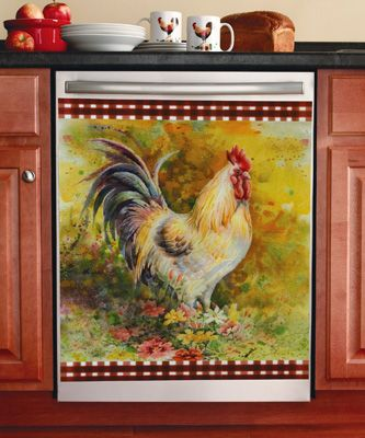 Country Rooster Floral Kitchen Dishwasher Cover French