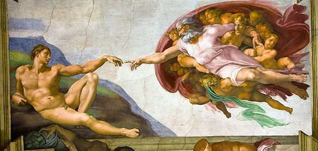 The Creation of Adam by Michelangelo http://www.smithsonianmag.com/arts-culture/The-Measure-of-Genius-Michelangelos-Sistine-Chapel-at-500.html