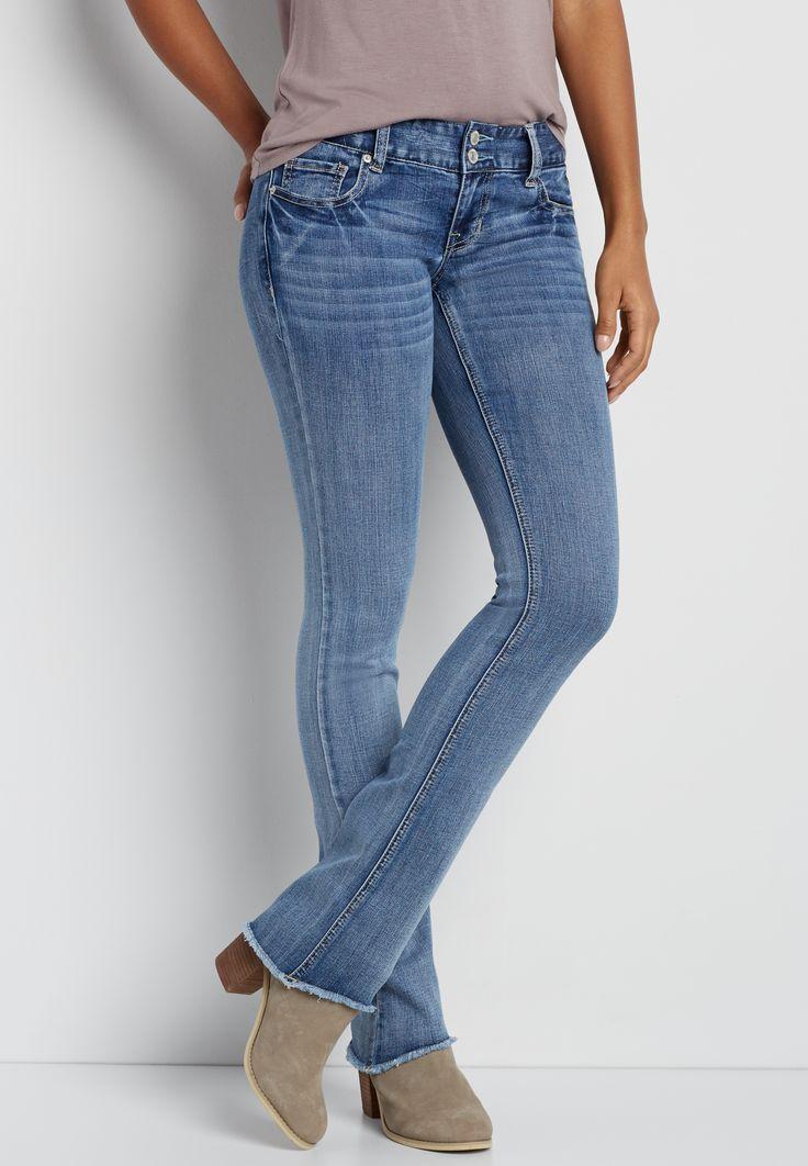 DenimFlex™ slim boot jeans with frayed bottom hem