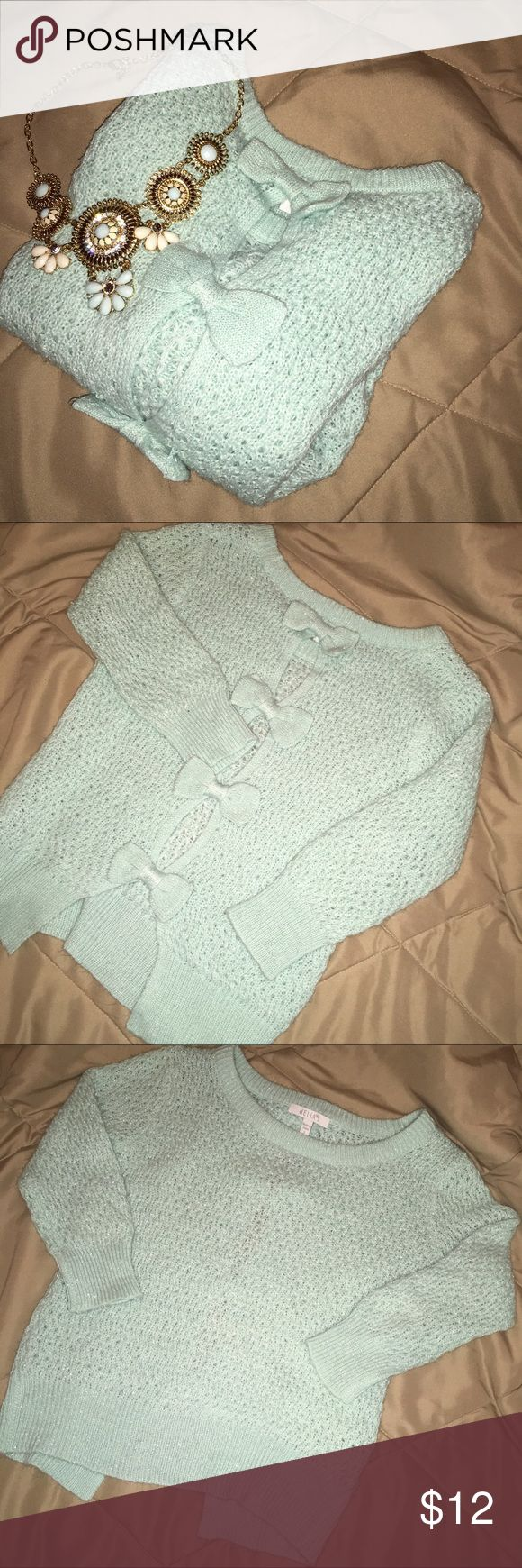 Mint Bow Sweater Great condition! Bows on back. Necklace and shoes not included. Ask me questions! Delia's Sweaters