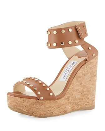 f25857ca67 Nelly Studded Cork Wedge Sandal, Brown by Jimmy Choo at Neiman Marcus.