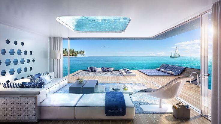 Interiér domu, ktorý sa vznáša na morskej hladine, ohúri podmorským výhľadom - Nehnutelnosti.sk