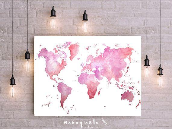 Pink and Violet World map Wall Art Watercolor painting Poster Gift, Birthday gift, ideas for her, Wedding gift. Mappamondo, carte du monde.Acuarela Mapamundi original tonos pastel (rosas y violetas) Hecho a mano. Técnica acuarela. Disponibles las acuarelas originales en diferentes tamaños