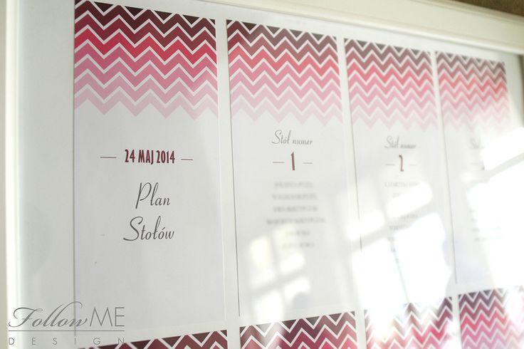 Dekoracje stołu / Plan sali / Tablica gości / Różowe dekoracje ślubne od FollowMe DESIGN / Table Decorations / Table Plan / Pink Wedding Decorations & Deta
