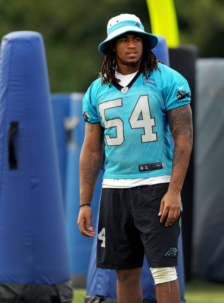 Carolina Panthers linebacker Shaq Thompson stands along the sidelines watching his teammates run through drills on Wednesday, August 5, 2015 at Wofford College in Spartanburg, SC. Thompson has a tight hamstring.
