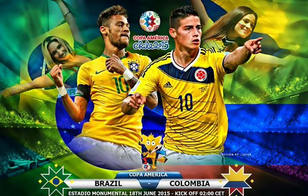 BRASILE COLOMBIA Rojadirecta Streaming Calcio Coppa America Cile 2015