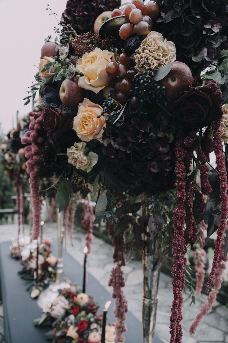 moody fall wedding decor