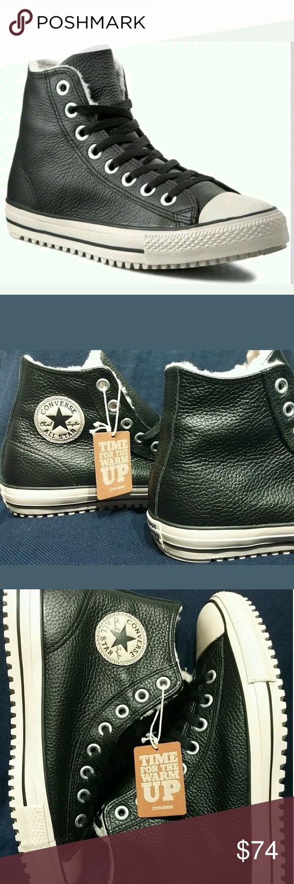 Converse Chuck Taylor Leather Winter Boot Sherpa Very Nice Leather Boot!  Converse Chuck Taylor All Star CT Boot Black w/?Sherpa Lining  MSRP $110  Please ask me any questions you may have!! Converse Shoes Rain & Snow Boots