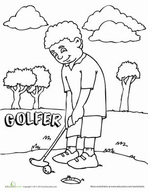 coloring book pages golf clubs - photo#40