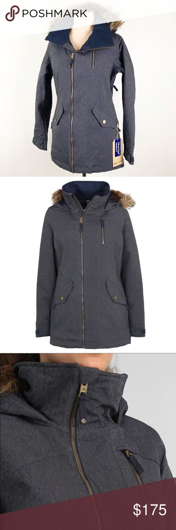 Burton Hazel Ski Snowboarding Hooded Jacket Awesome Burton Hazel Jacket in Denim. Color is both grey and blue depending on what light you're in. No trades Burton Jackets & Coats