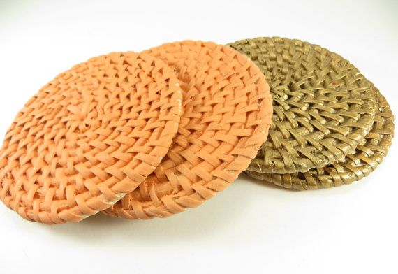Hey, I found this really awesome Etsy listing at https://www.etsy.com/listing/186133176/hand-painted-rattan-coaster-set-of-4