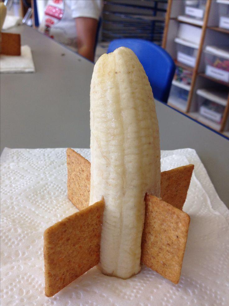 Rocket ship banana snacks