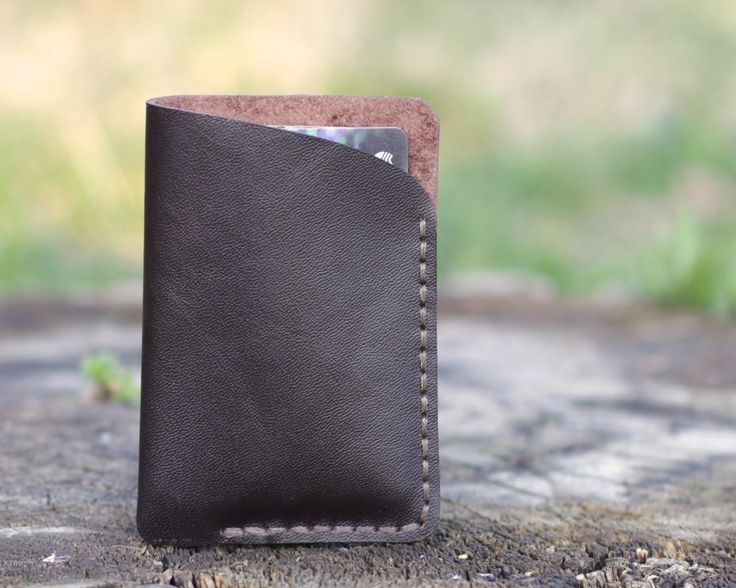 Leather card holder small cardholder leather card wallet handmade leather cardholder small credit card holder travel card case Free gift by KodamaLife on Etsy