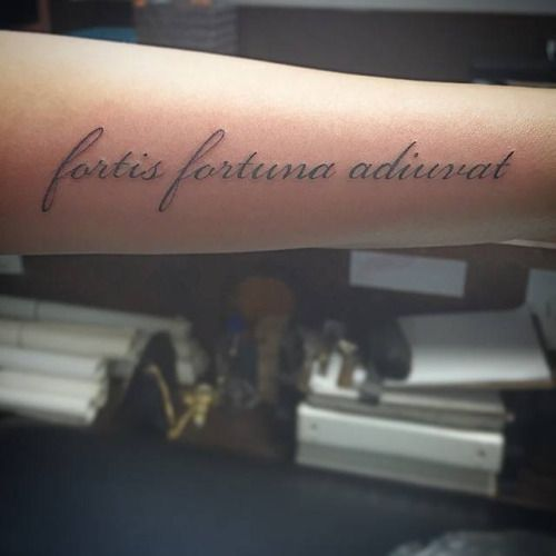 Latin phrase Fortis Fortuna Adiuvat tattoo which...
