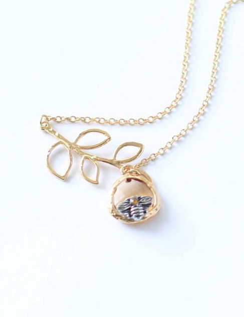 Bee Charm Necklace by thisandthatsparkle on Etsy