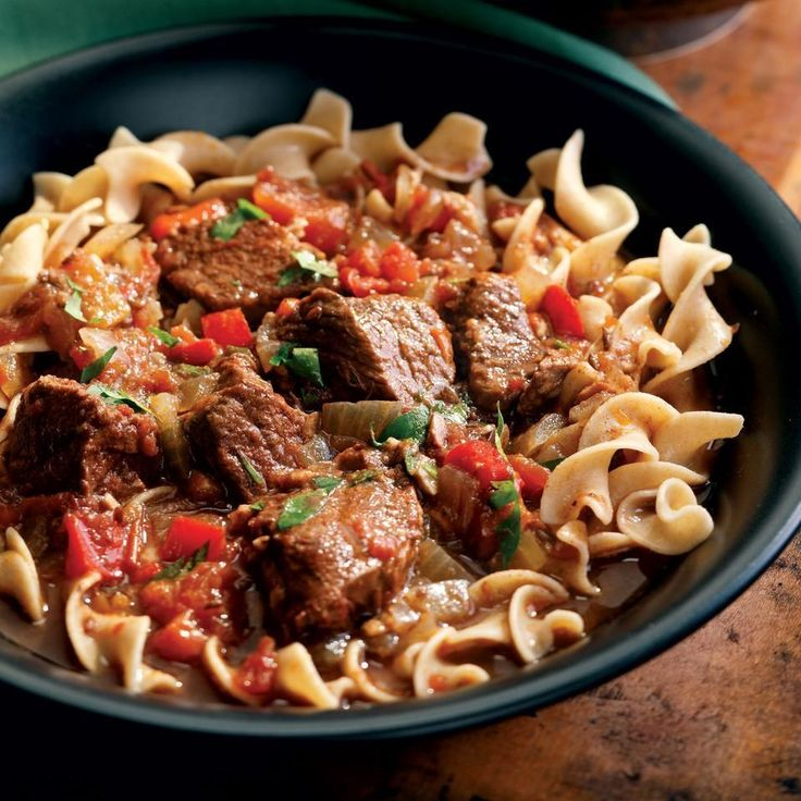 This streamlined goulash skips the step of browning the beef, and instead coats it in a spice crust to give it a rich mahogany hue.