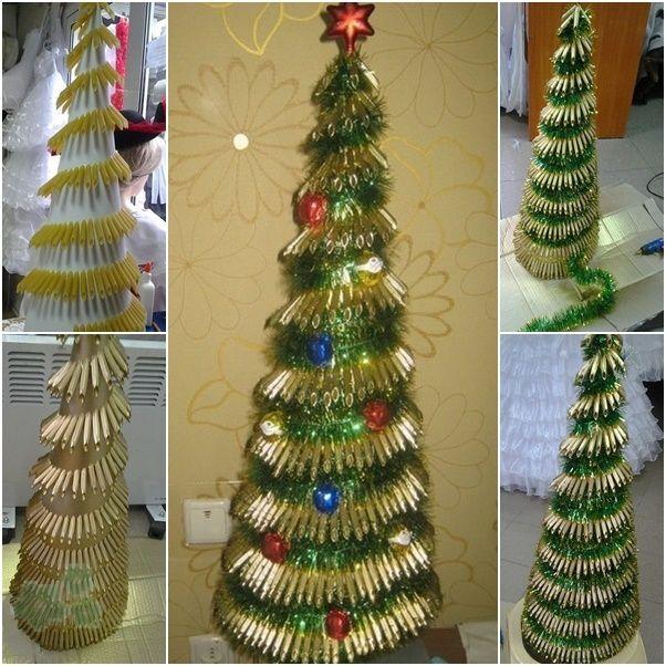 encuentra este pin y muchos ms en adornos navideos reciclados de arbol de pasta