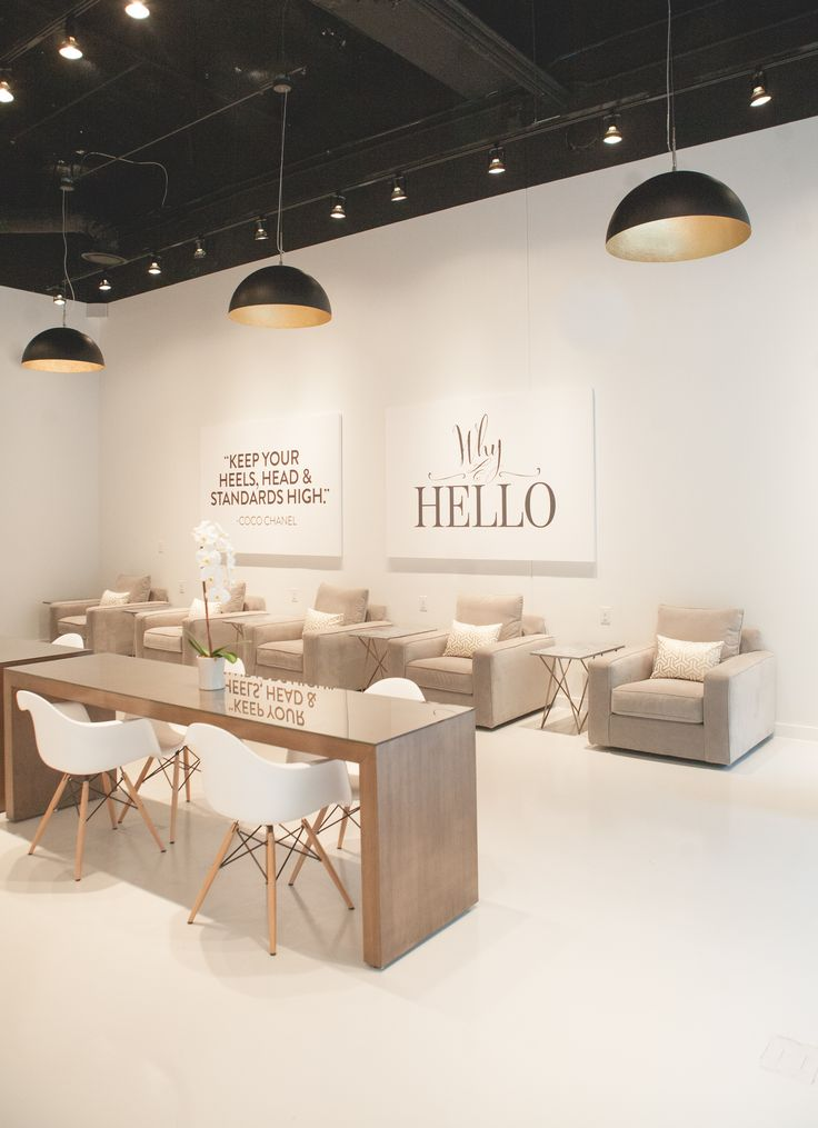 white decor at lacquer modern nail salon in downtown austin tx - Nail Salon Interior Design Ideas
