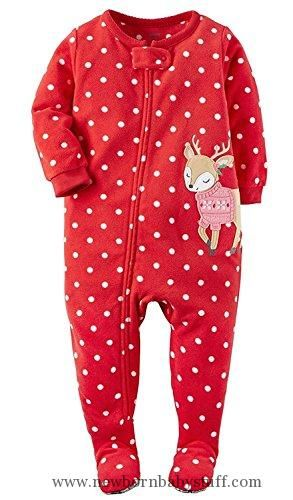 Baby Girl Clothes Carter s Baby Girls  1-Piece Footed Fleece Pajamas Pj s  Polka Dot Reindeer 12M 68bcd5044