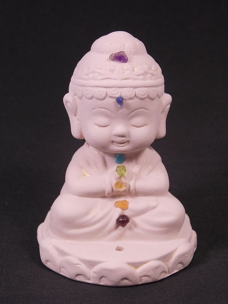 "Let this little Buddha inspire you while you balance your chakras or meditate. H= 3.5"" W= 2.5"""