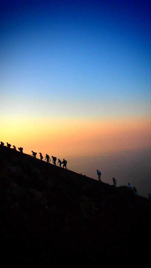 Climbing up Mt Stromboli, Sicily, Italy