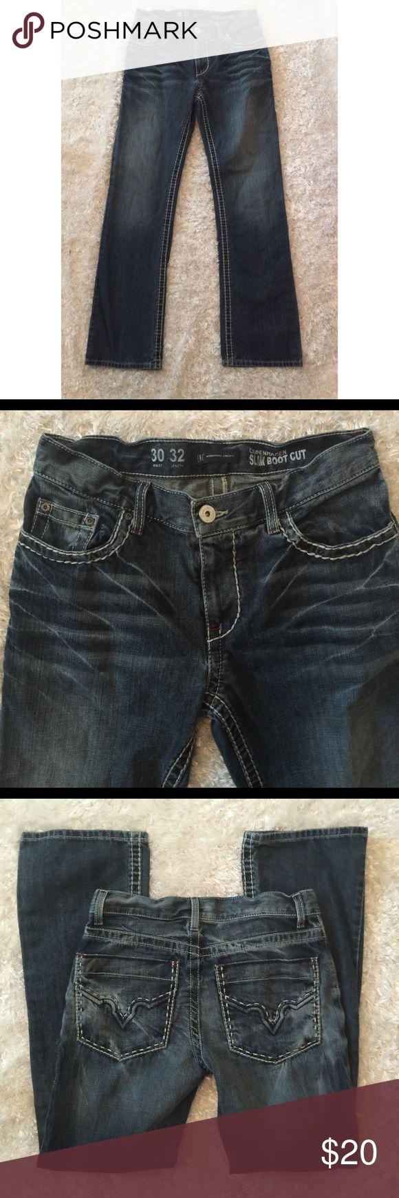 "INC Copenhagen Bootcut Jeans INC jeans size 30.  Bold threading detail. 32"" inseam 9.5"" rise INC International Concepts Jeans Boot Cut"