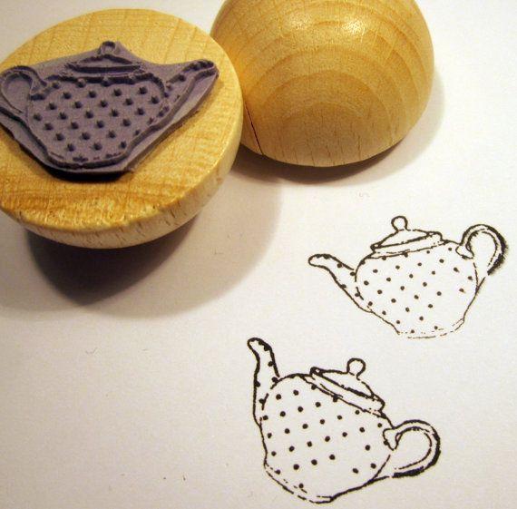 rubber stamp - tea pot