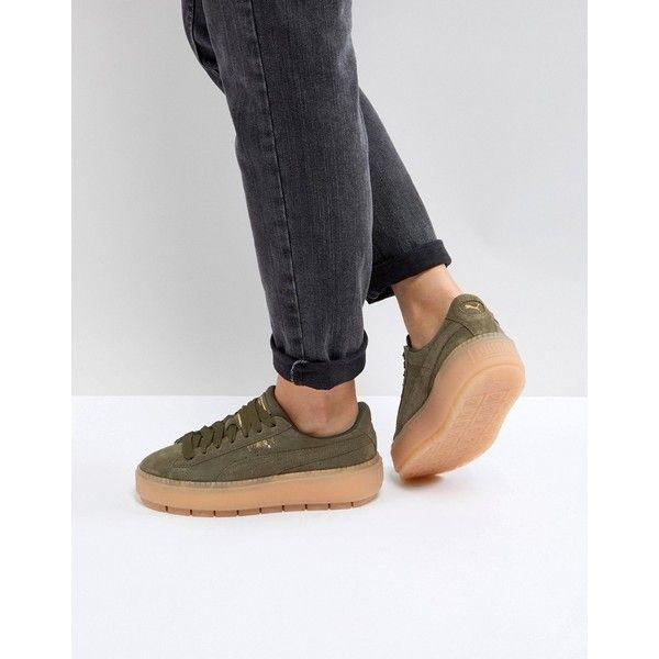 luxe Puma Suede Platform Trace en daim Puma Vert Chaussures