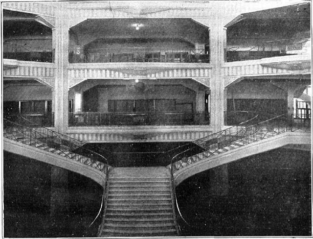 Fuente: B.N.E. (1924) Interior de los Almacenes Madrid-París y su magnífica escalera.